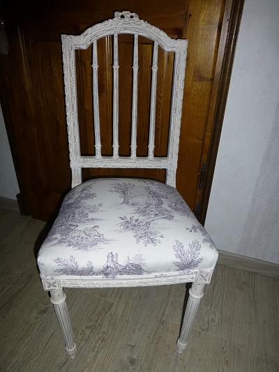 Chaise patine vieilli + tissu